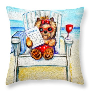 Sudoku At The Beach Throw Pillow