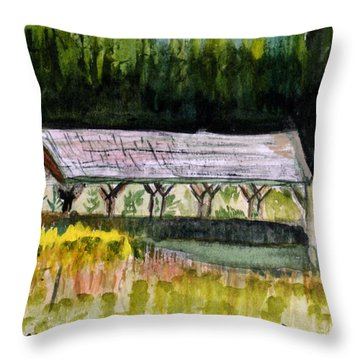 Sugar Mill Covered Bridge In Barton Vt Throw Pillow by Donna Walsh