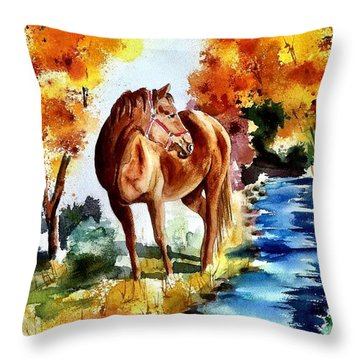 Throw Pillow featuring the painting Sugar  by Sharon Mick