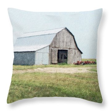 Throw Pillow featuring the digital art Summer Barn by Debbie Portwood