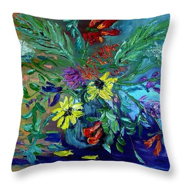 Throw Pillow featuring the painting Summer Bouquet by Carol Berning