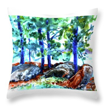 Summer By The Lake Throw Pillow by Jan Bennicoff