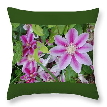 Summer Clematis Throw Pillow
