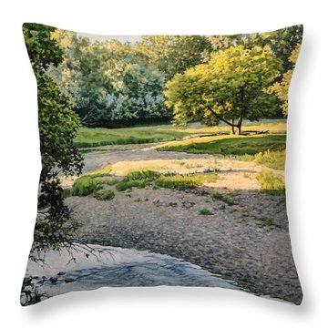 Summer Evening Along The Creek Throw Pillow