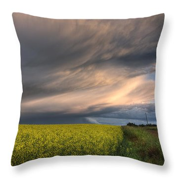 Summer Evening Storm Blowing Over Ripe Throw Pillow by Dan Jurak