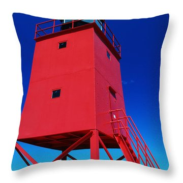 Throw Pillow featuring the photograph Summer Fun Down By The Lighthouse by Janice Adomeit