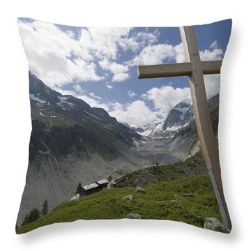 Summer In The Mountains. The Cross Throw Pillow by Axiom Photographic