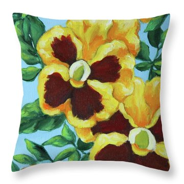 Throw Pillow featuring the painting Summer Pancies by Inese Poga