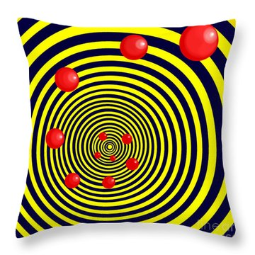 Summer Red Balls With Yellow Spiral Throw Pillow