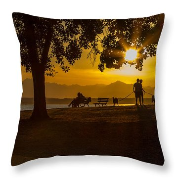 Throw Pillow featuring the photograph Summer's Last Sunset by Ken Stanback