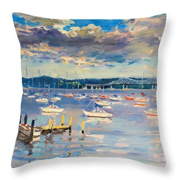 Sun And Clouds In Hudson Throw Pillow