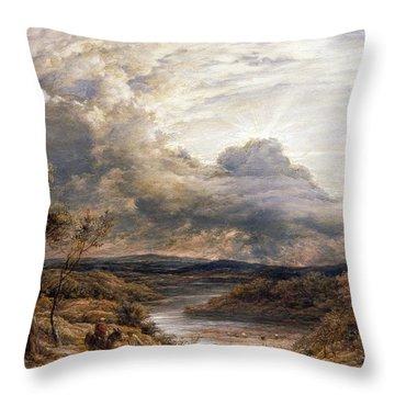 Sun Behind Clouds Throw Pillow by John Linnell