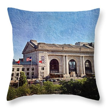 Sun Rising On Union Station In Kansas City Tv Throw Pillow by Andee Design