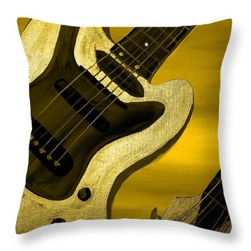 Sun Stained Yellow Electric Guitar Throw Pillow by Mark Moore