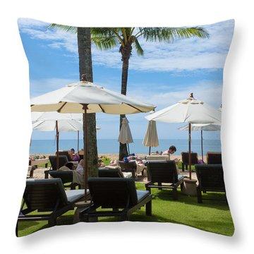 Sunbath Throw Pillow by Atiketta Sangasaeng