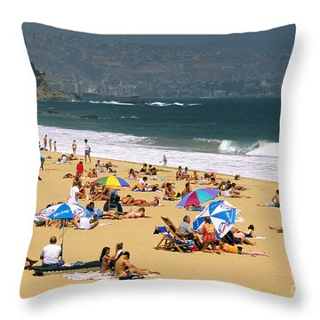 Sunbathers Throw Pillow by David Frazier and Photo Researchers