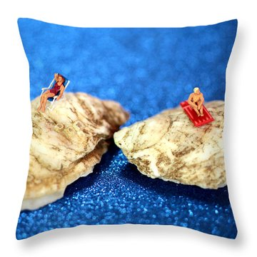 Sunbathers On Shells Throw Pillow by Paul Ge