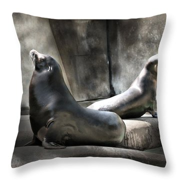 Throw Pillow featuring the photograph Sunbathing Seals by Mary Almond