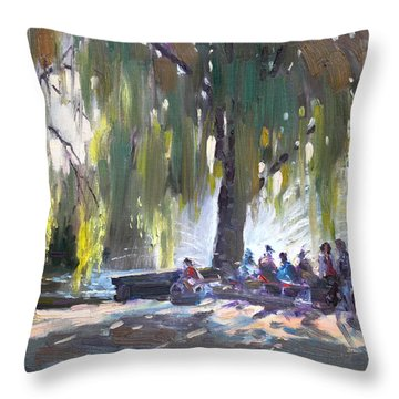 Sunday Afternoon By The Fontain Throw Pillow by Ylli Haruni