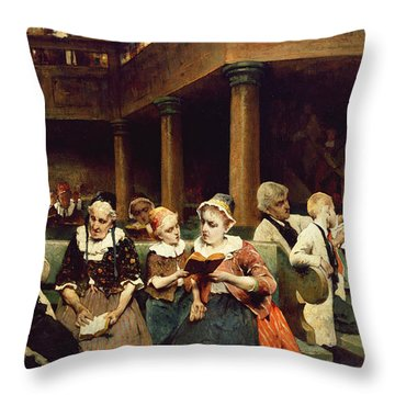Sunday School Class  Throw Pillow by Isaac Mayer