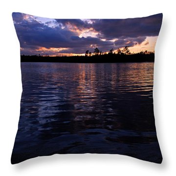 Sunet On Spoon Lake Throw Pillow by Larry Ricker
