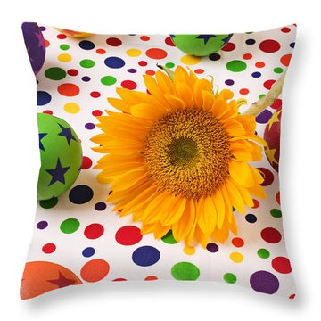Sunflower And Colorful Balls Throw Pillow by Garry Gay