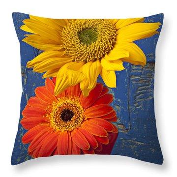 Sunflower And Mum Throw Pillow by Garry Gay