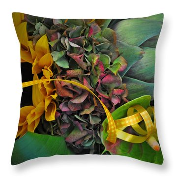 Sunflower And Thistle  Throw Pillow by Mary Machare