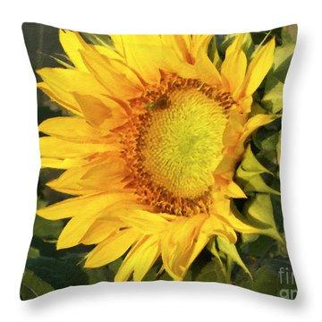 Throw Pillow featuring the digital art Sunflower Digital Art by Deniece Platt