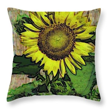 Throw Pillow featuring the photograph Sunflower Face by Alec Drake