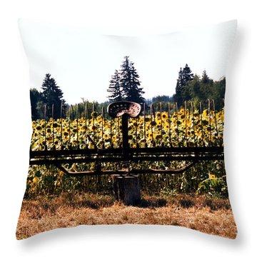 Throw Pillow featuring the photograph Sunflower Farm Scene by Maureen E Ritter