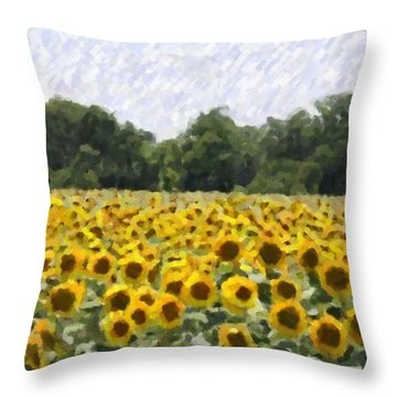 Throw Pillow featuring the photograph Sunflower Field by Donna  Smith