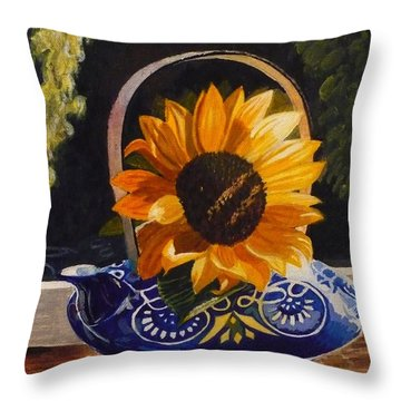 Throw Pillow featuring the painting Sunflower In Blue by Janet McDonald