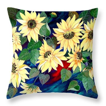 Sunflower Orgy Throw Pillow