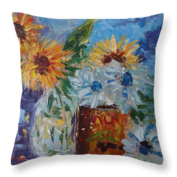 Sunflower Still Life Two Throw Pillow