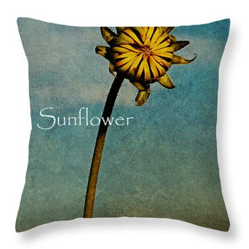 Sunflower Text Throw Pillow