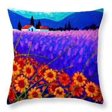 Sunflower Vista Throw Pillow by John  Nolan