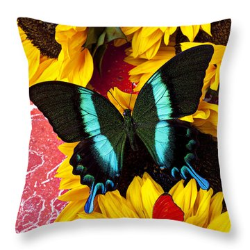 Sunflowers And Butterflies Throw Pillow by Garry Gay