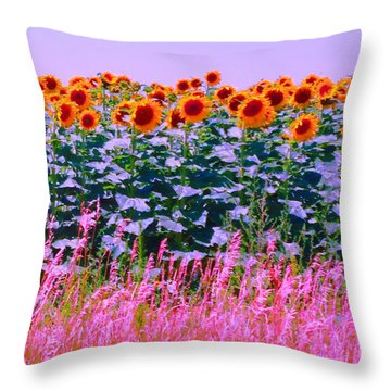 Throw Pillow featuring the photograph Sunflowers by Ann Johndro-Collins
