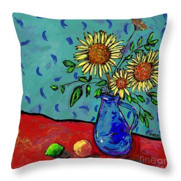 Sunflowers In A Milk Pitcher Throw Pillow