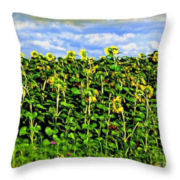 Sunflowers In France Throw Pillow by Joan  Minchak