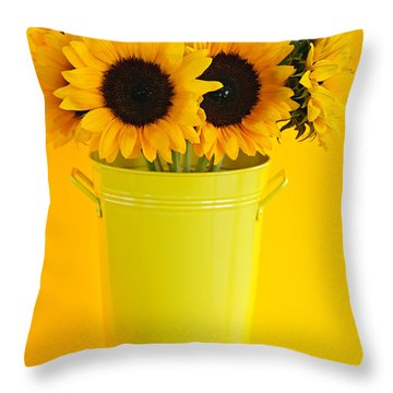 Sunflowers In Vase Throw Pillow by Elena Elisseeva