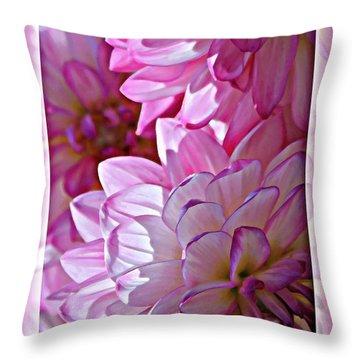 Sunlight Through Pink Dahlias Throw Pillow by Carol Groenen