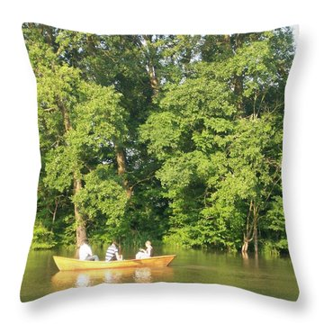 Sunny Afternoon Canoe Ride Throw Pillow by Nora Boghossian