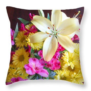 Sunny Bouquet Throw Pillow by Connie Fox