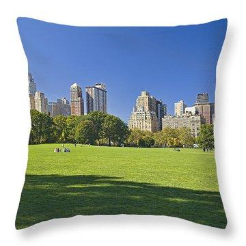 Sunny Central Park Throw Pillow