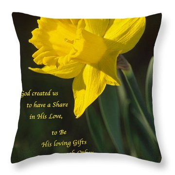 Sunny Daffodil With Quote Throw Pillow