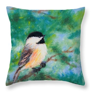 Throw Pillow featuring the painting Sunny Day Chickadee - Bird 1 by Kathleen McDermott