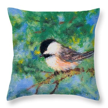 Throw Pillow featuring the painting Sunny Day Chickadee - Bird 2 by Kathleen McDermott