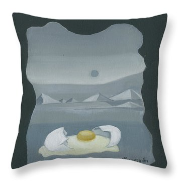 Sunny Side Up Breakfast Yellow White Egg With Broken Shell In Surrealistic Desert Landscape Fantasy Throw Pillow by Rachel Hershkovitz